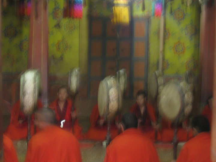 a glance into a Buddhist ceremony in a Bhutanese temple