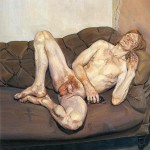 Naked man with a rat, by Lucian Freud